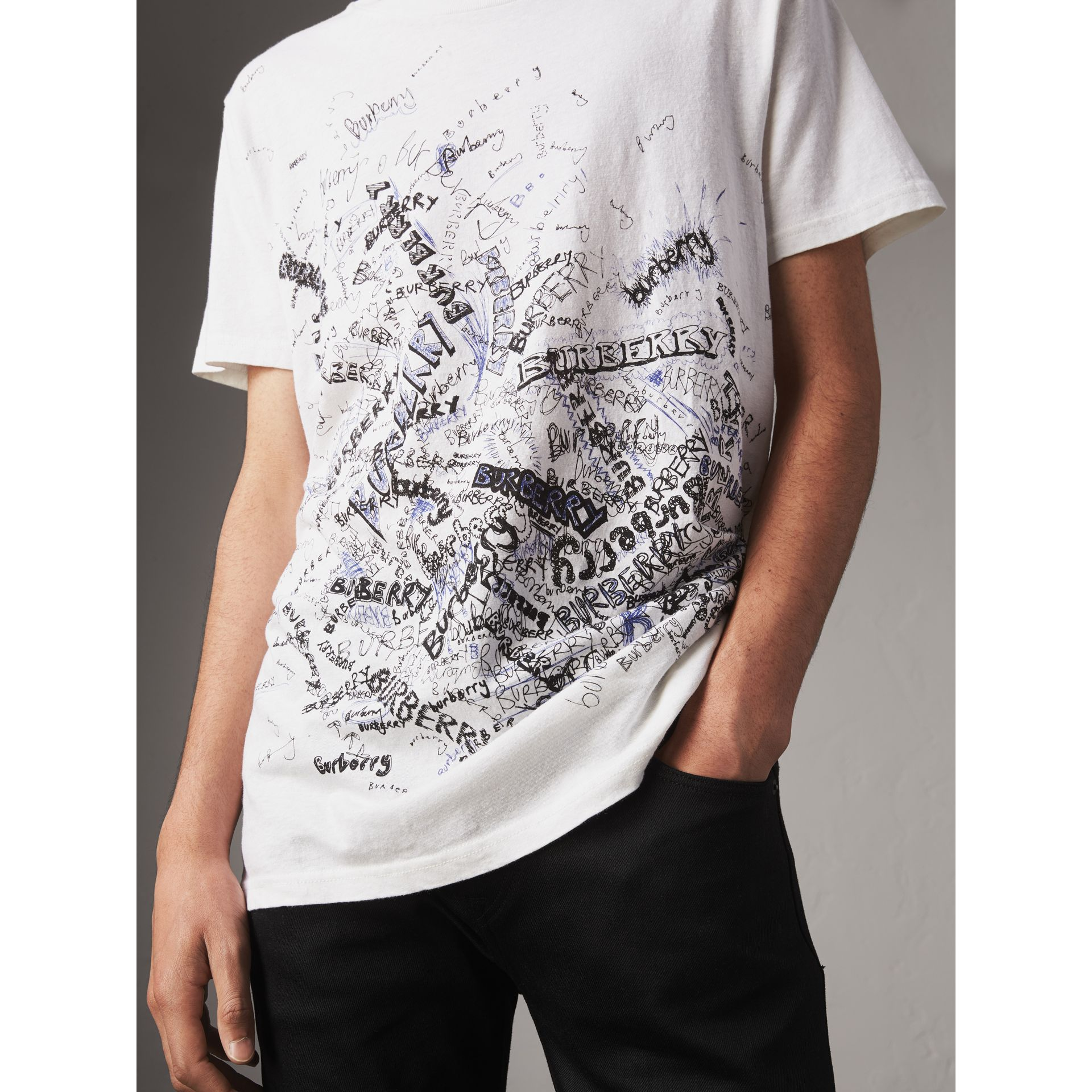 Doodle Print Cotton T-shirt in White - Men | Burberry United Kingdom - gallery image 1