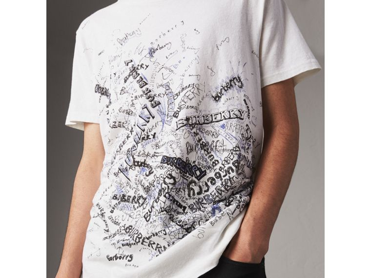 Doodle Print Cotton T-shirt in White - Men | Burberry - cell image 1