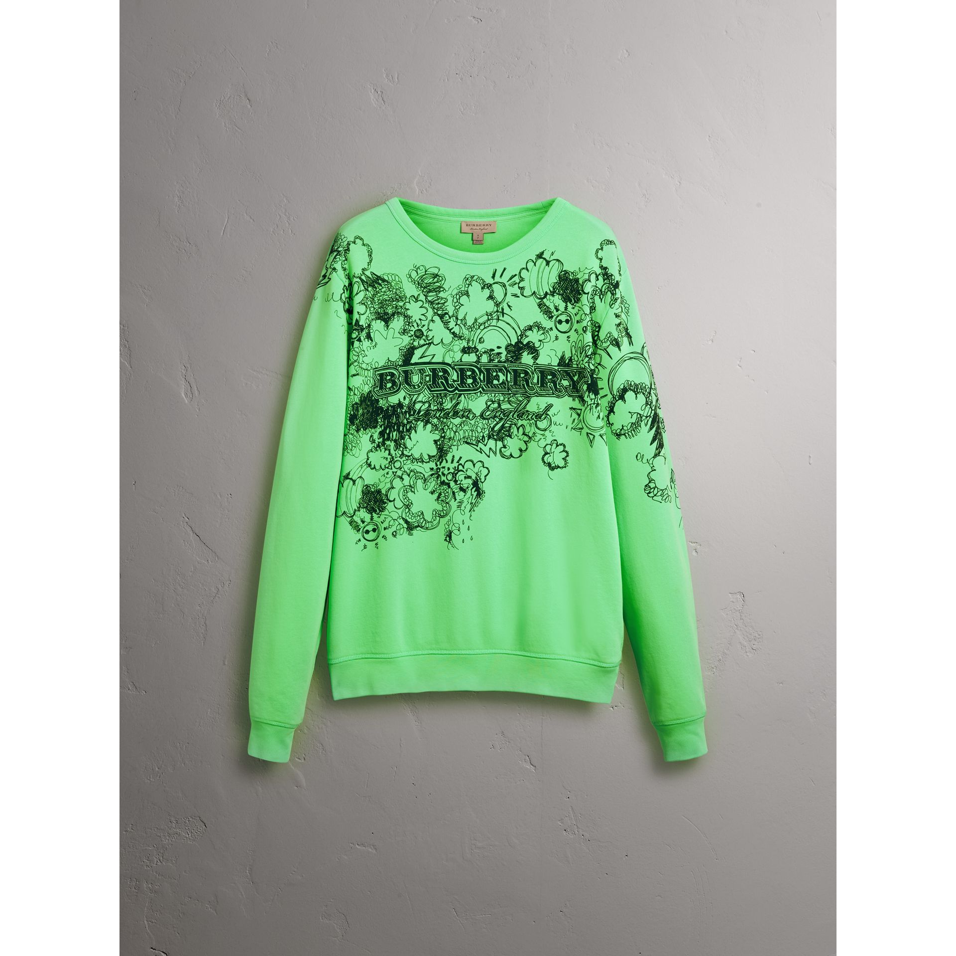 Doodle Print Cotton Sweatshirt in Bright Apple Green - Women | Burberry - gallery image 3