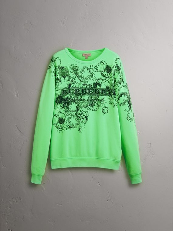 Doodle Print Cotton Sweatshirt in Bright Apple Green - Women | Burberry Singapore - cell image 3