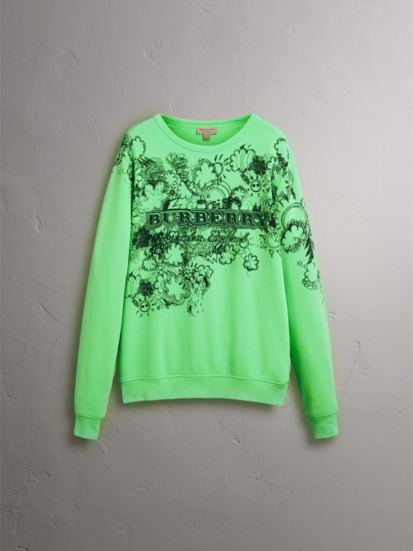 Doodle Print Cotton Sweatshirt in Bright Apple Green - Women | Burberry - cell image 3