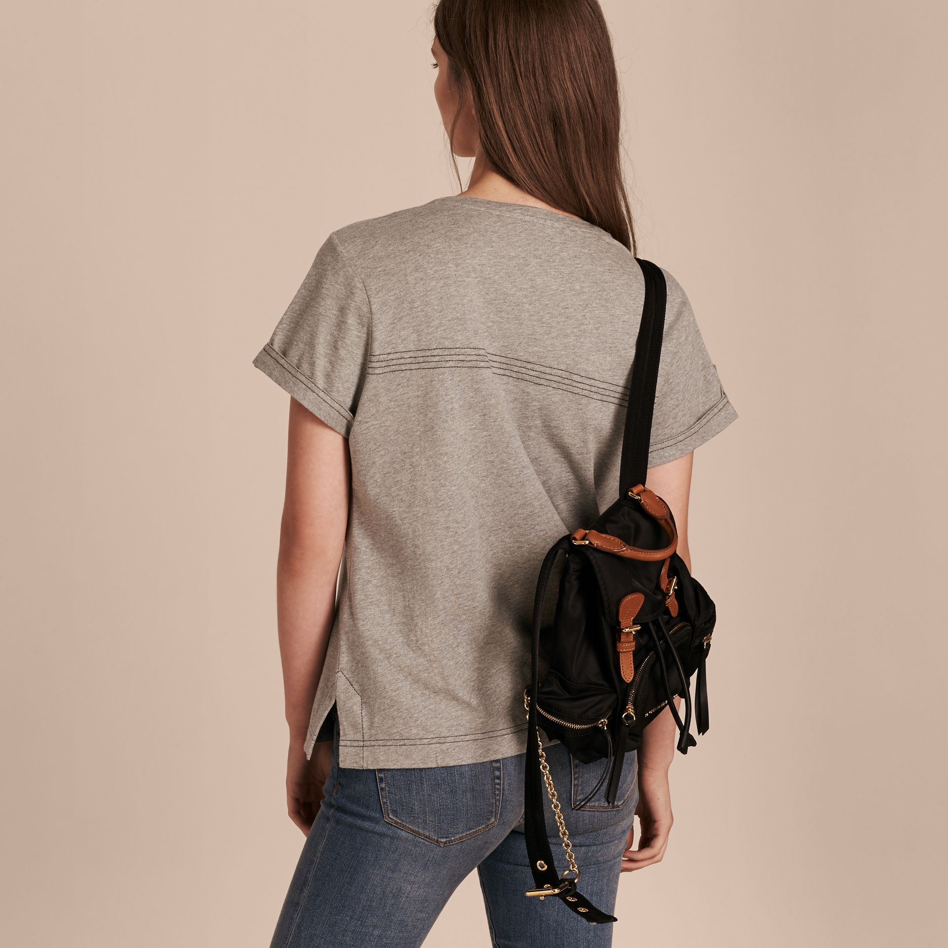 Pale grey melange Topstitch Detail Cotton T-shirt Pale Grey Melange - gallery image 3