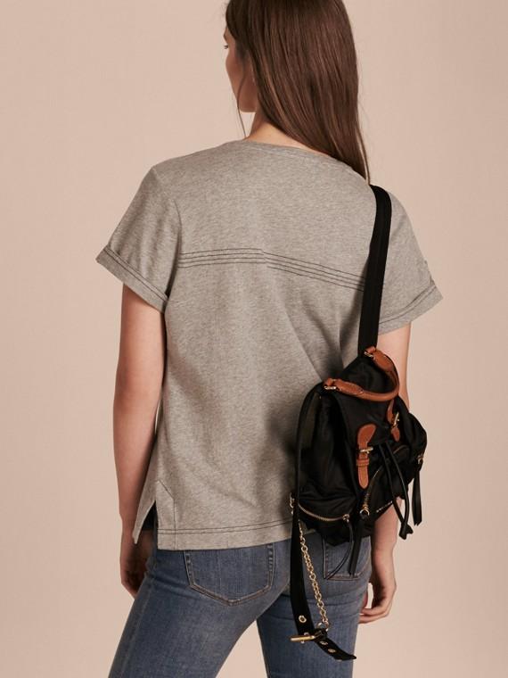 Pale grey melange Topstitch Detail Cotton T-shirt Pale Grey Melange - cell image 2