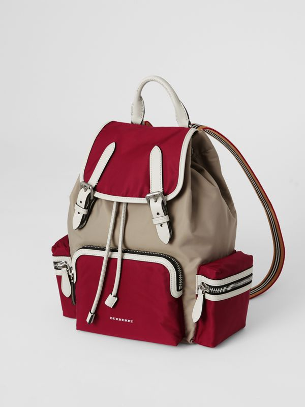 The Medium Rucksack in Colour Block Nylon and Leather in Crimson - Women | Burberry Singapore - cell image 2