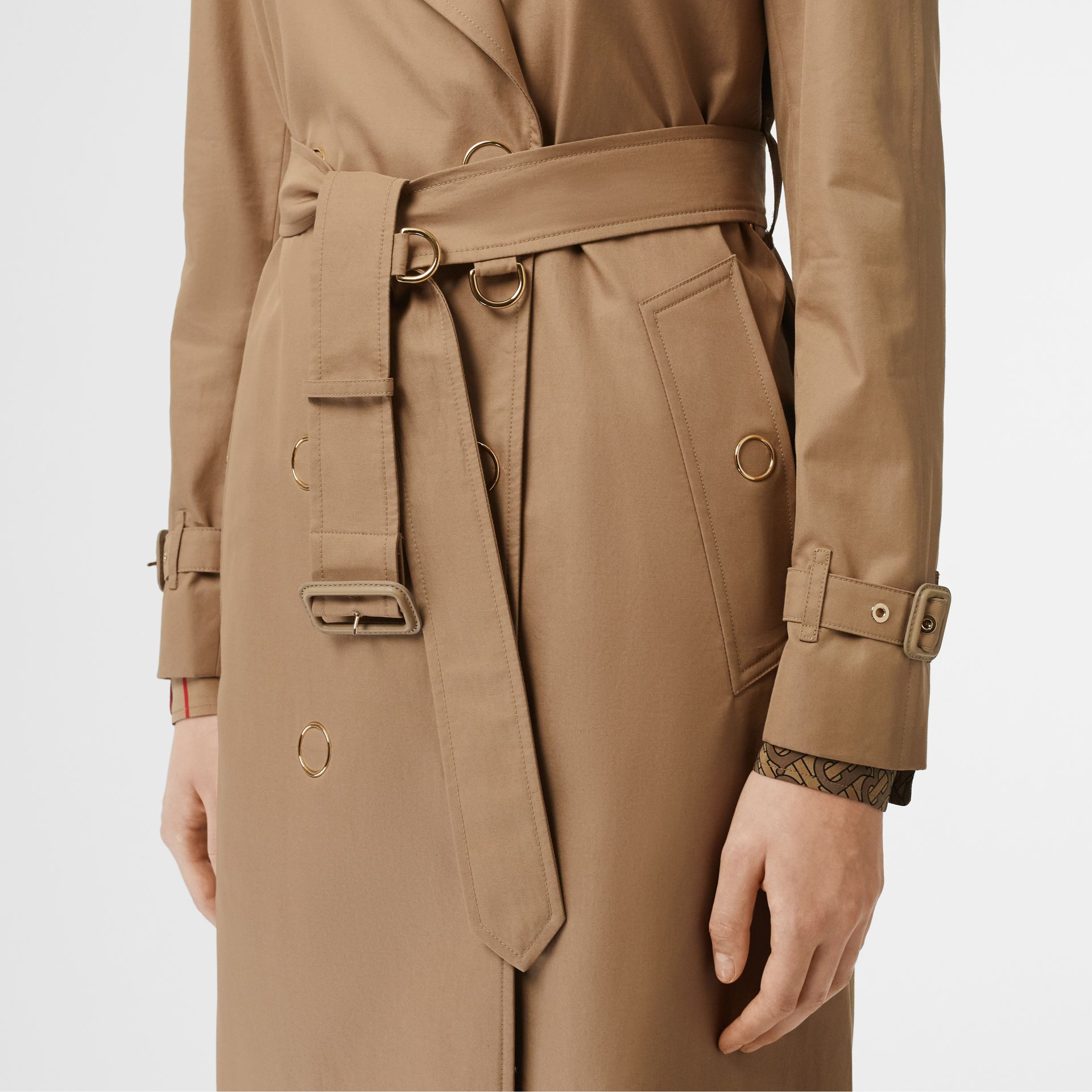 Press-stud Detail Cotton Gabardine Trench Coat in Driftwood - Women | Burberry - gallery image 4