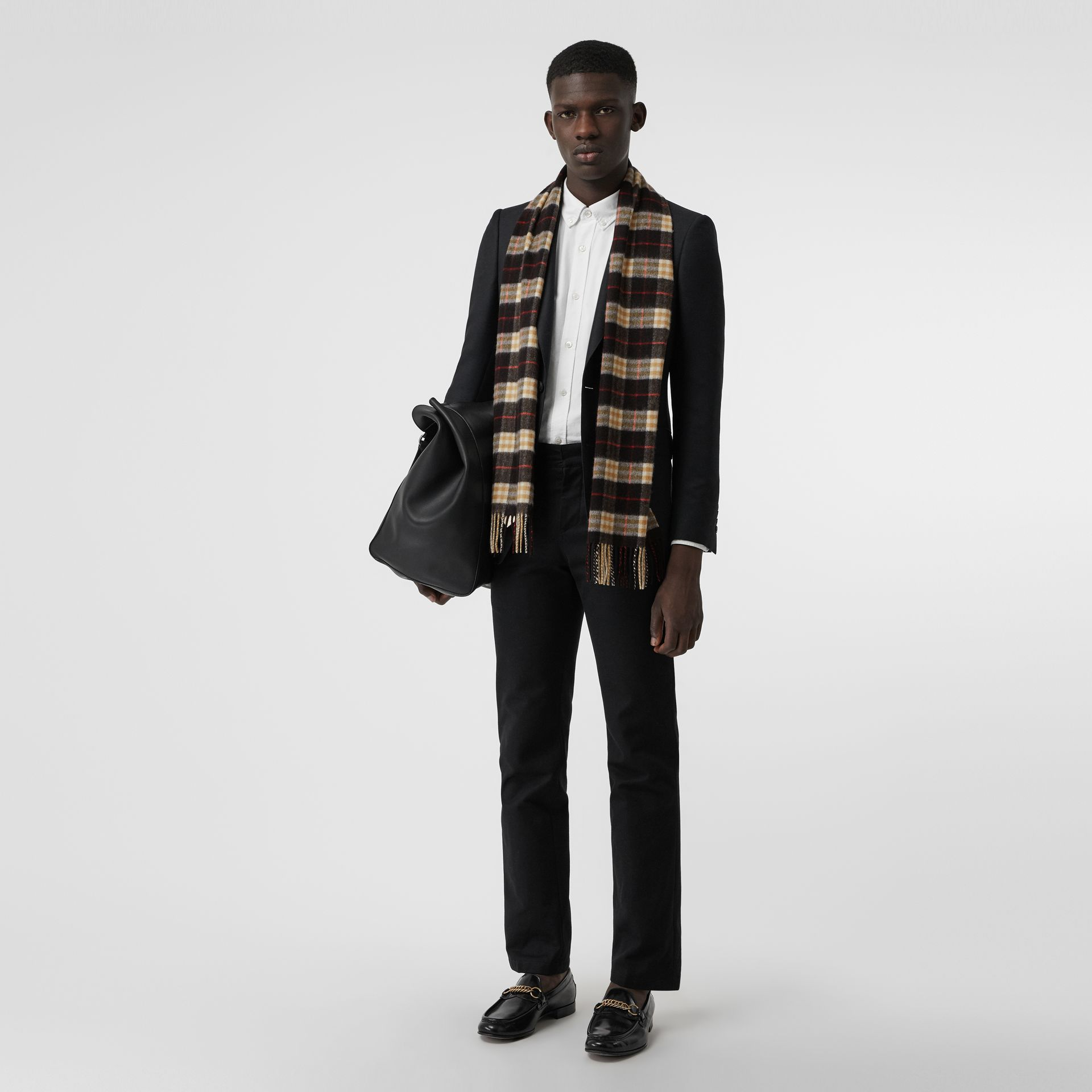 Check Cashmere Scarf in Black | Burberry United Kingdom - gallery image 3