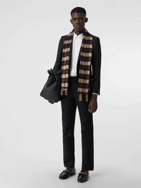 Check Cashmere Scarf in Black | Burberry Australia - cell image 3