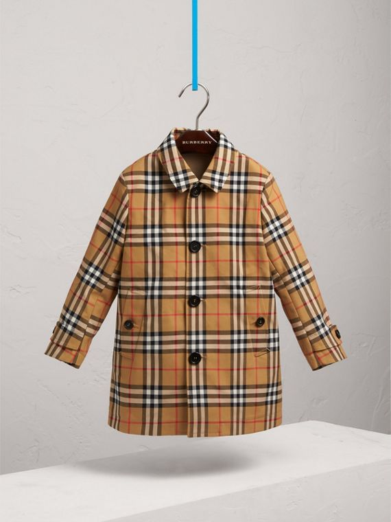 Vintage Check Cotton Car Coat in Antique Yellow - Boy | Burberry - cell image 2