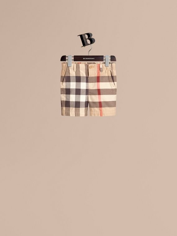 Check Cotton Chino Shorts. - Boy | Burberry