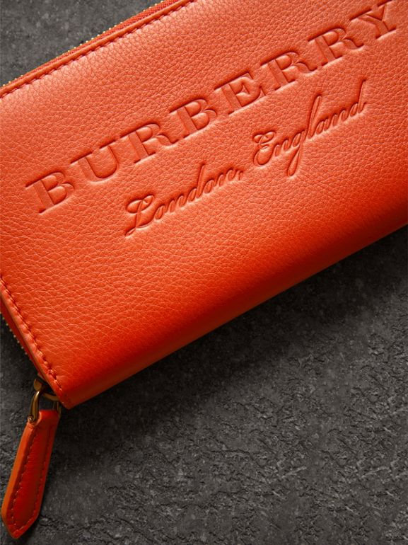 Embossed Leather Ziparound Wallet in Dark Clementine - Women | Burberry - cell image 1