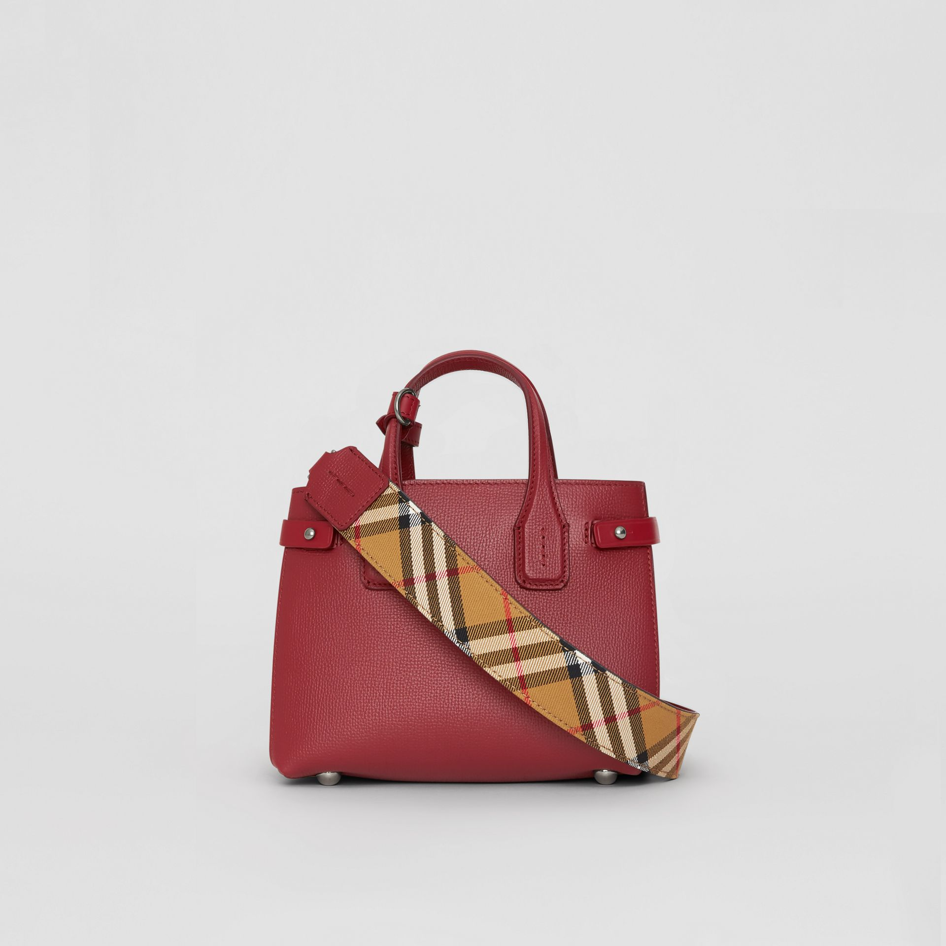 The Baby Banner in pelle e motivo Vintage Check (Cremisi) - Donna | Burberry - immagine della galleria 7