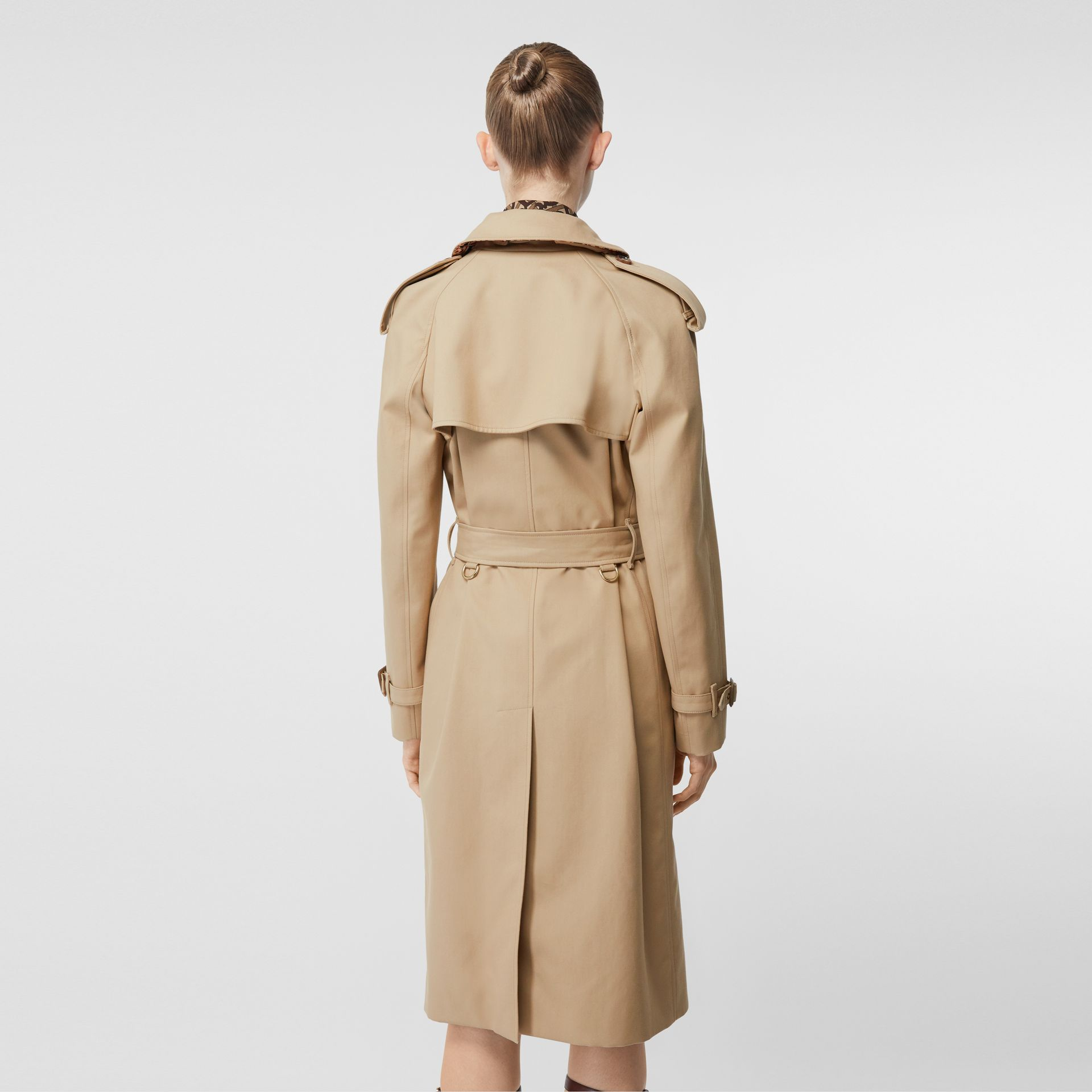 Archive Print-lined Cotton Gabardine Trench Coat in Honey - Women | Burberry Australia - gallery image 2