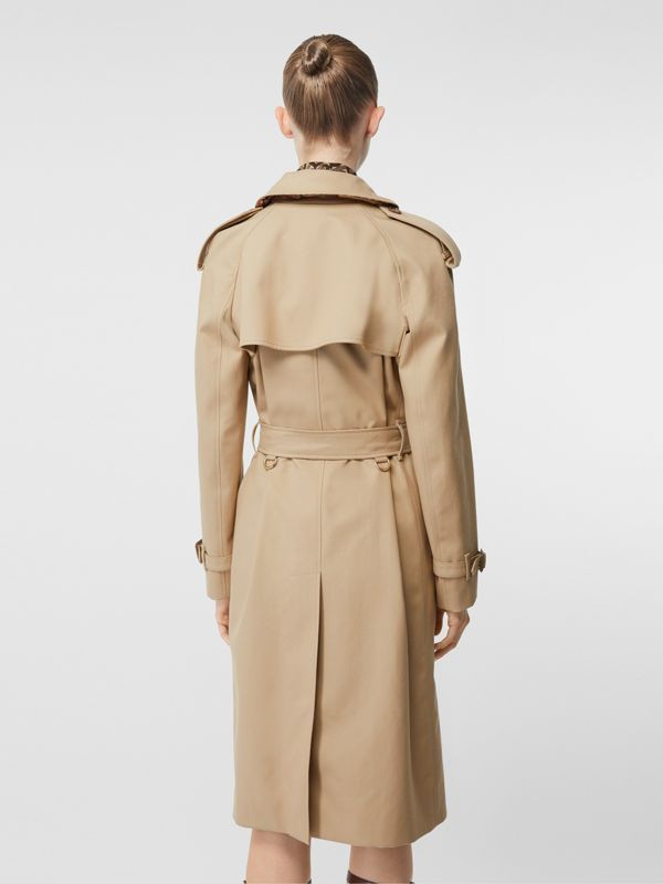 Archive Print-lined Cotton Gabardine Trench Coat in Honey - Women | Burberry Australia - cell image 2