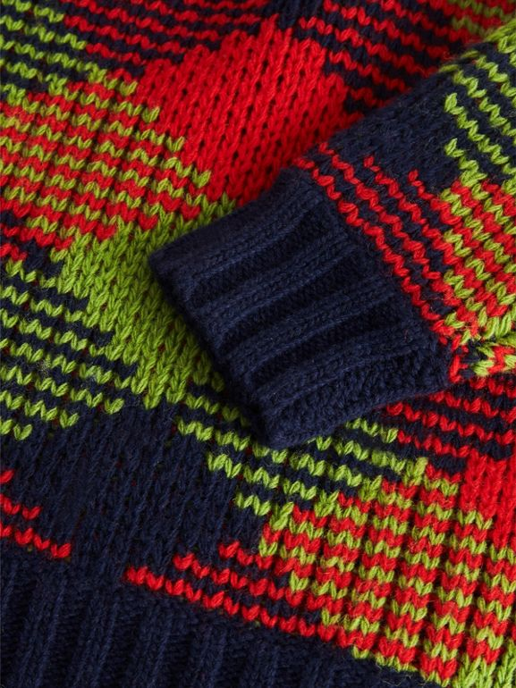 Check Intarsia Wool Blend Sweater in Bright Red | Burberry - cell image 1