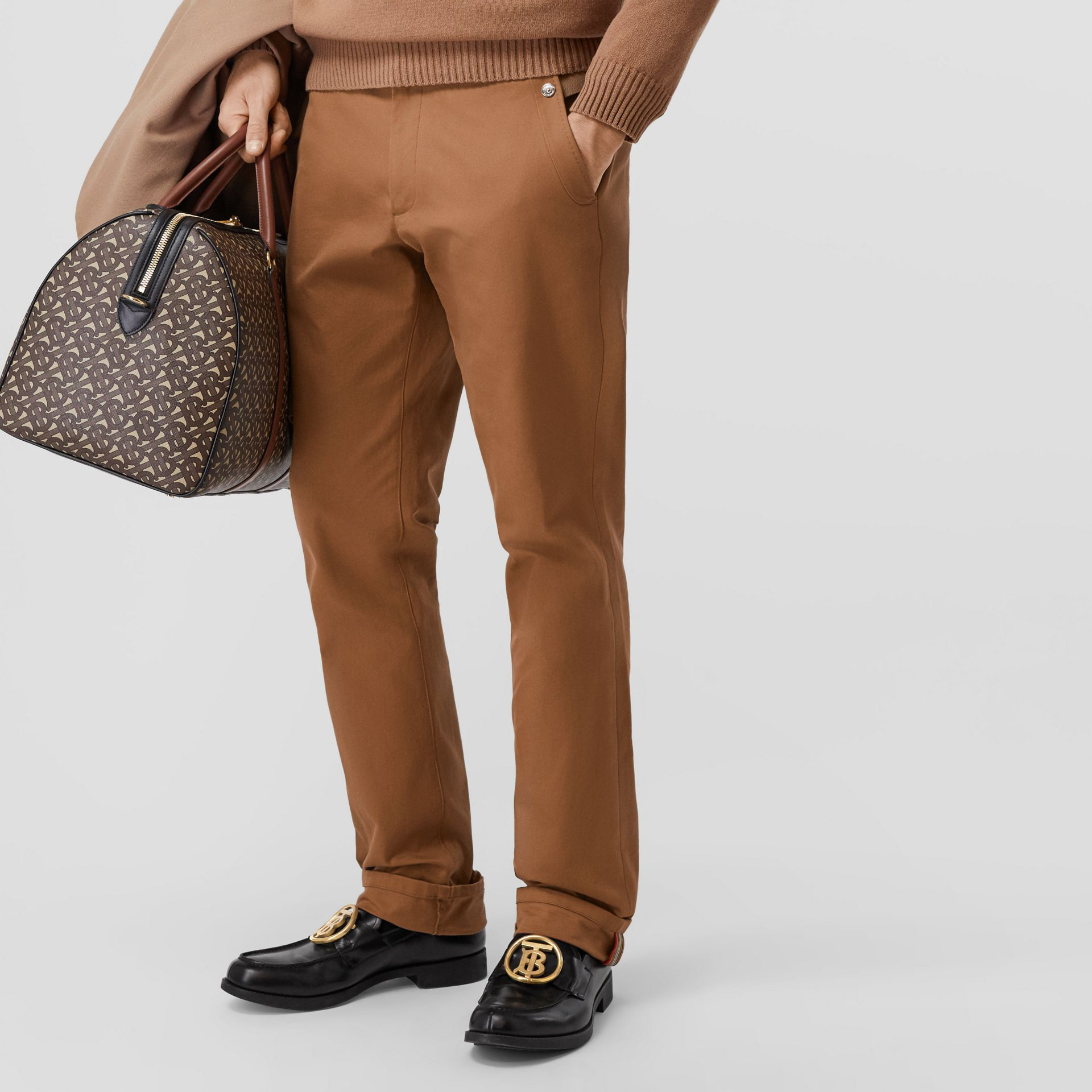 Classic Fit Cotton Chinos in Warm Walnut - Men | Burberry - gallery image 5
