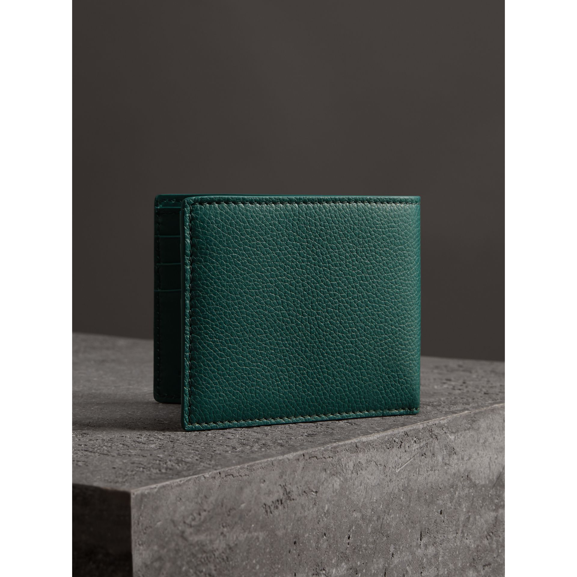 Grainy Leather Bifold Wallet in Dark Cyan - Men | Burberry Canada - gallery image 2