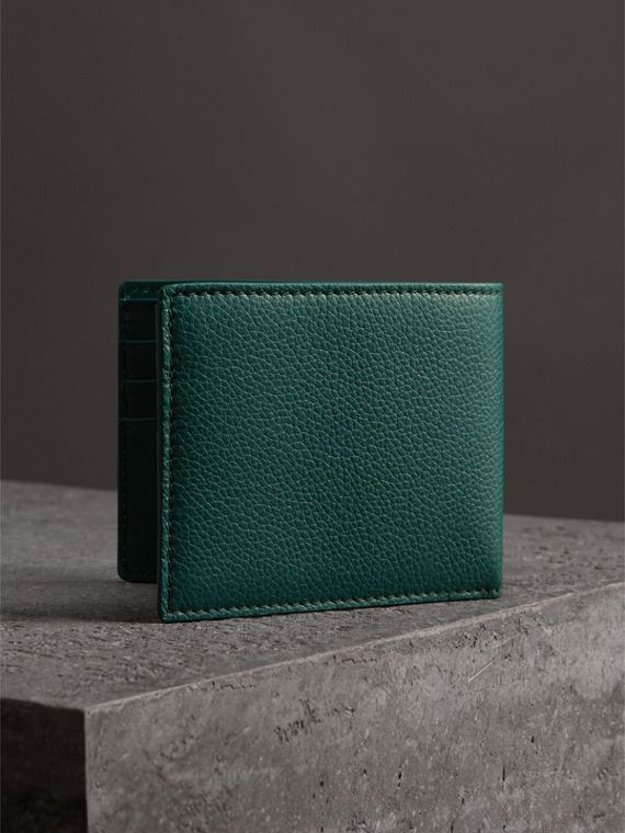 Grainy Leather Bifold Wallet in Dark Cyan - Men | Burberry United States - cell image 2