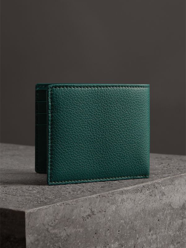 Grainy Leather Bifold Wallet in Dark Cyan - Men | Burberry Canada - cell image 2