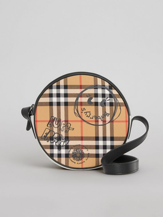 Street Art Print Vintage Check Crossbody Bag in Black