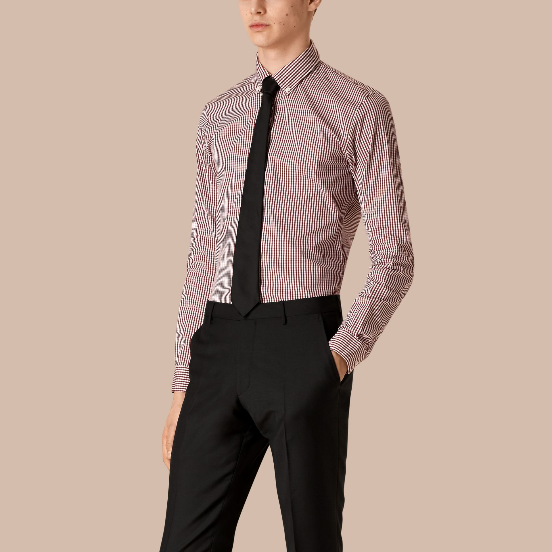 Deep burgundy Slim Fit Button-down Gingham Stretch-cotton Shirt Deep Burgundy - gallery image 1