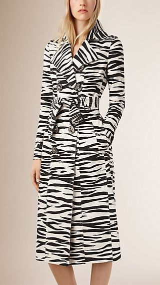 Zebra Print Cotton Silk Trench Coat