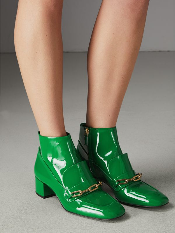 Link Detail Patent Leather Ankle Boots in Bright Pigment Green - Women | Burberry - cell image 2