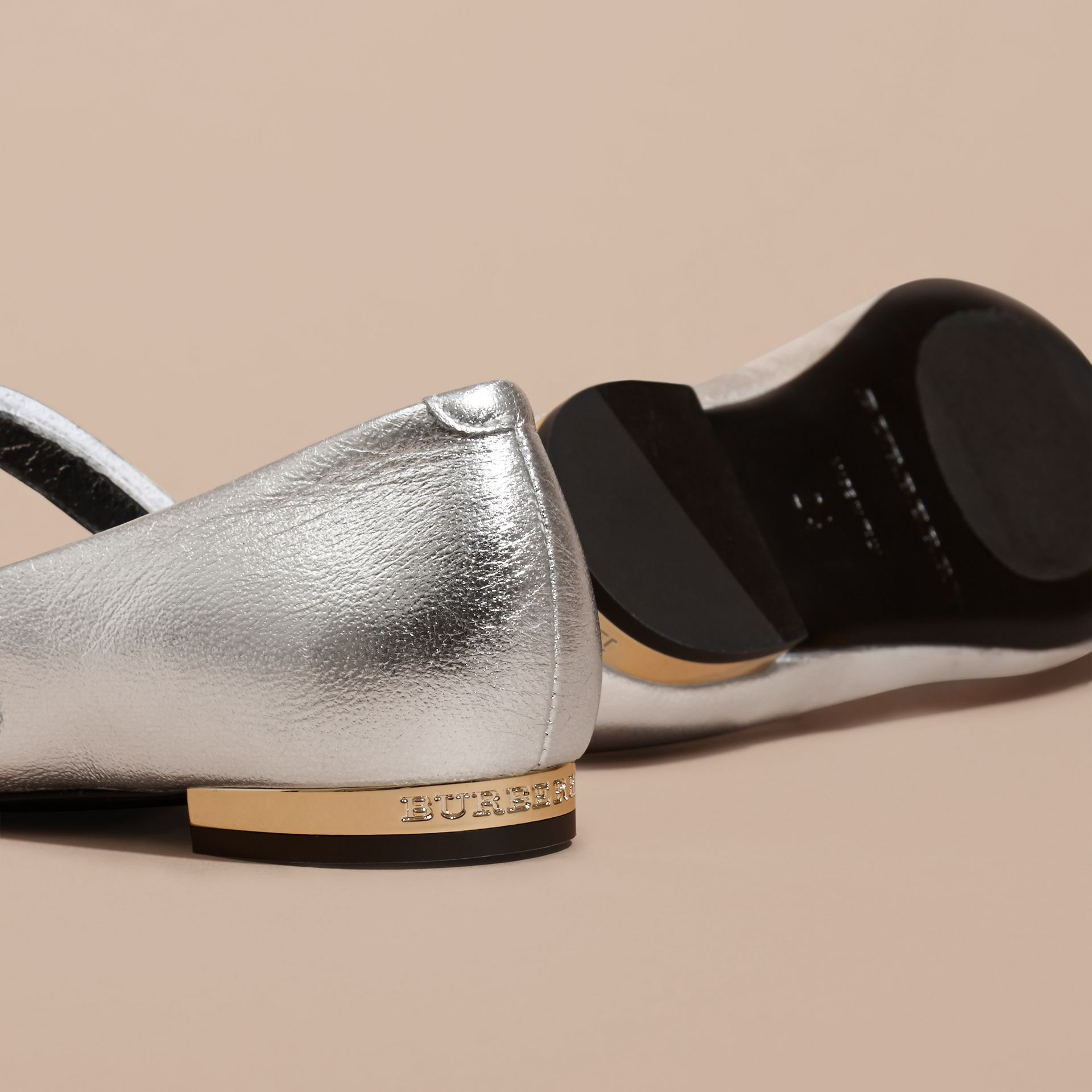 Bow Detail Metallic Leather Ballerinas in Silver - gallery image 4