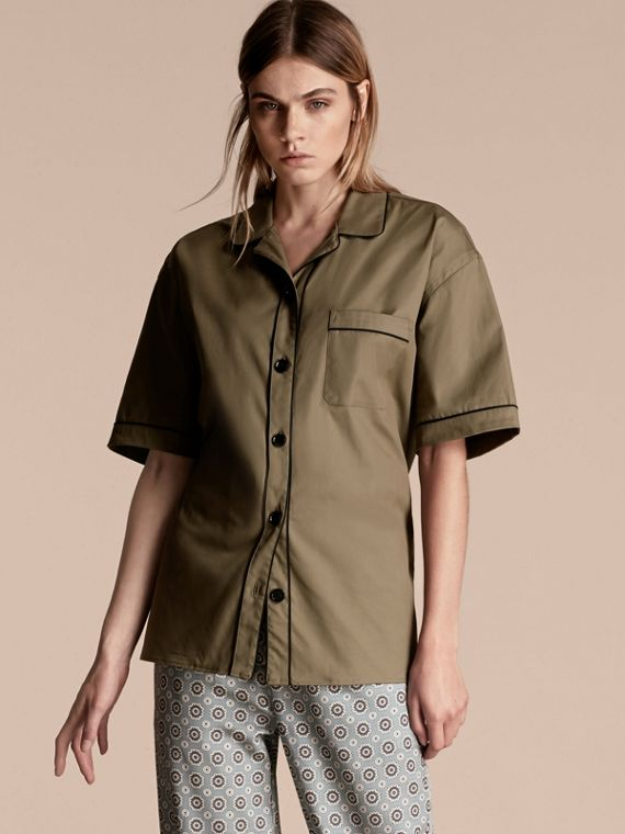 Short-sleeved Stretch Cotton Pyjama-style Shirt
