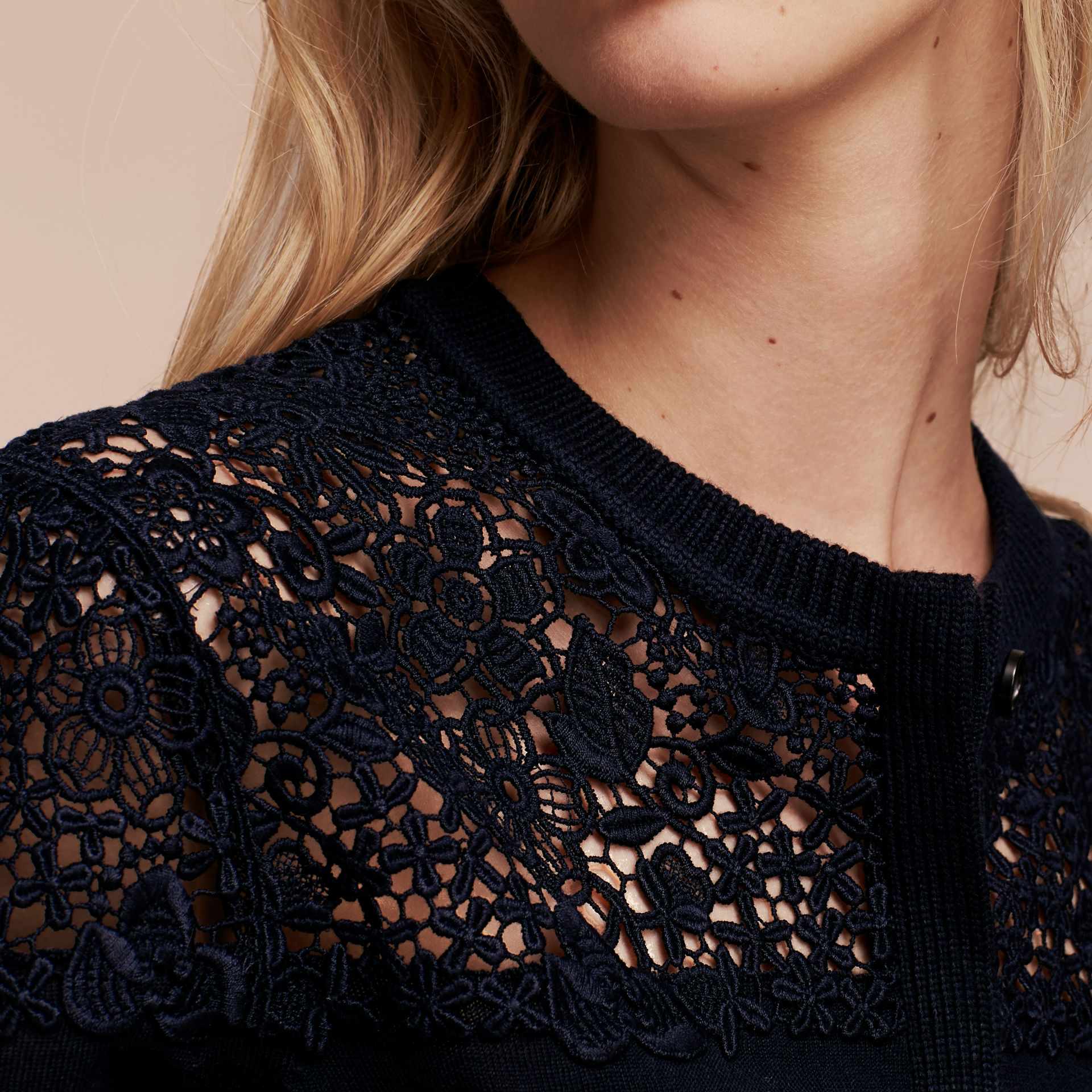 Navy Lace Yoke Merino Wool Cardigan Navy - gallery image 5