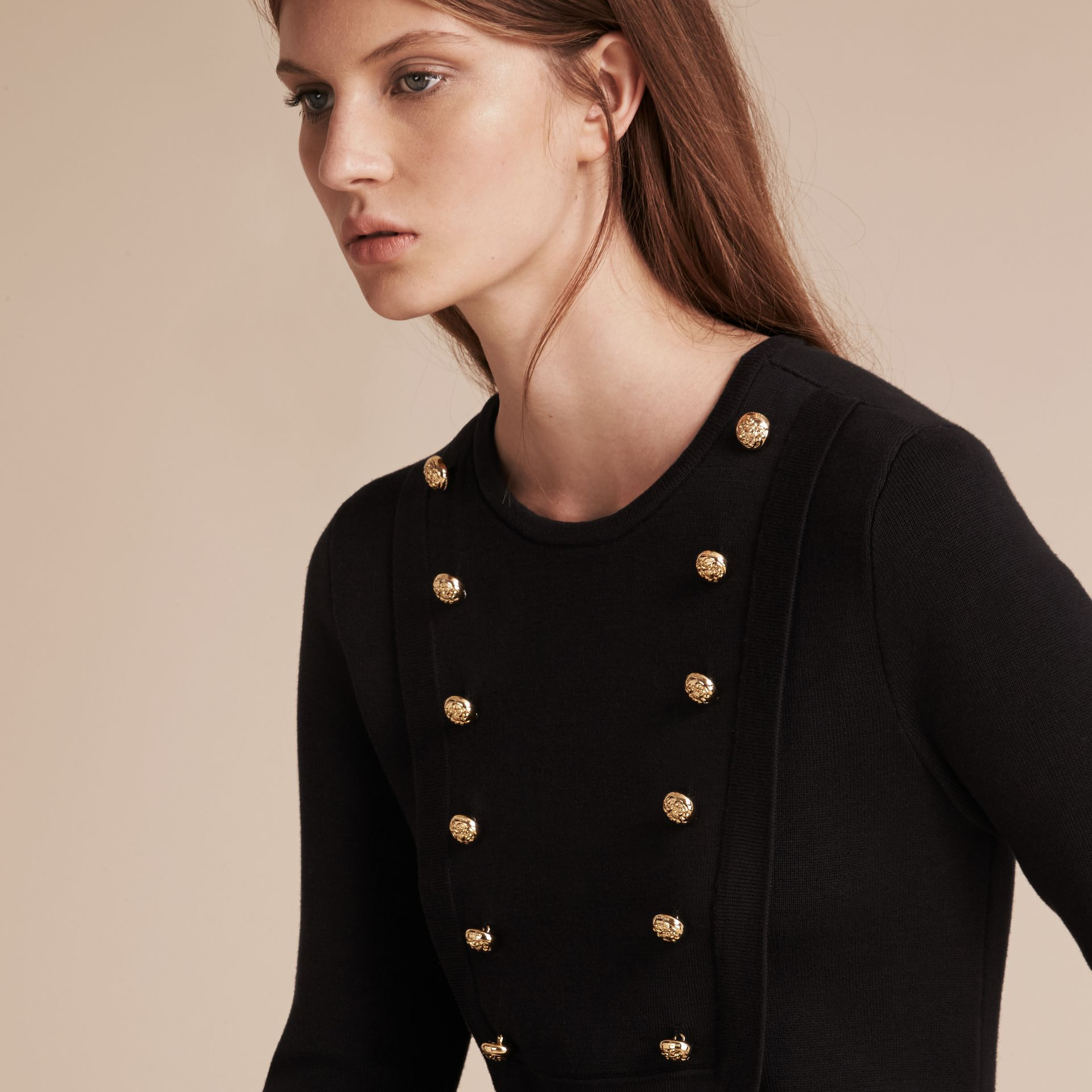 Black Stretch Silk-cotton Knitted Military Dress - gallery image 5