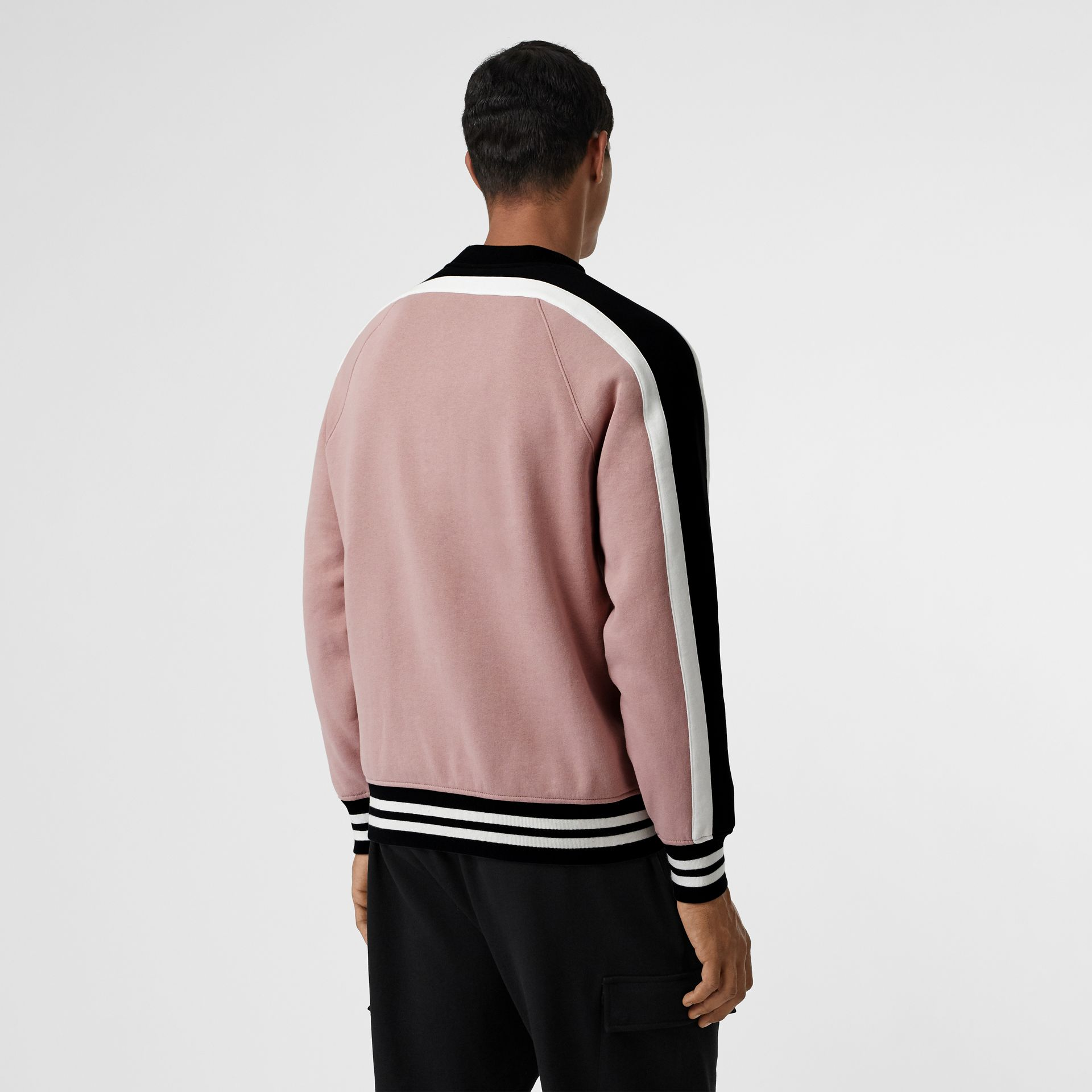 Stripe Detail Cotton Jersey Sweatshirt in Pale Orchid - Men | Burberry United Kingdom - gallery image 2