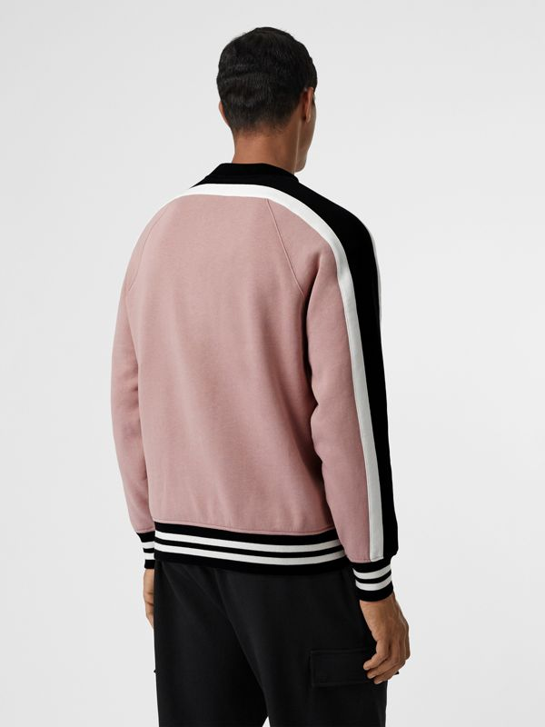 Stripe Detail Cotton Jersey Sweatshirt in Pale Orchid - Men | Burberry Hong Kong - cell image 2