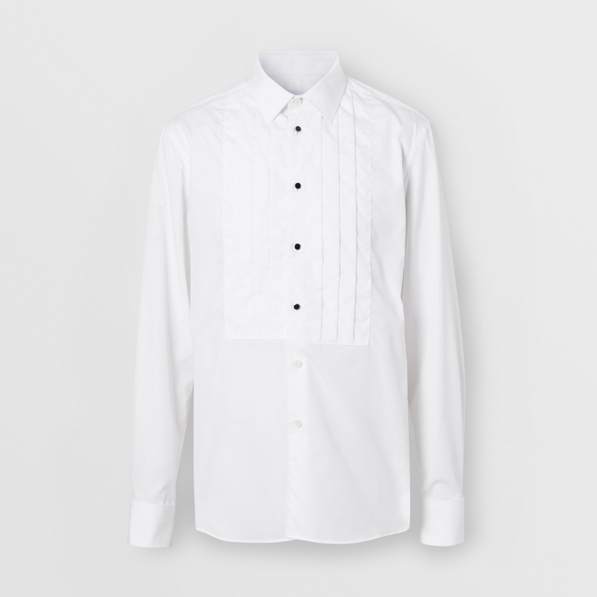 Pleated Bib Cotton Poplin Dress Shirt in Optic White - Men | Burberry - gallery image 3