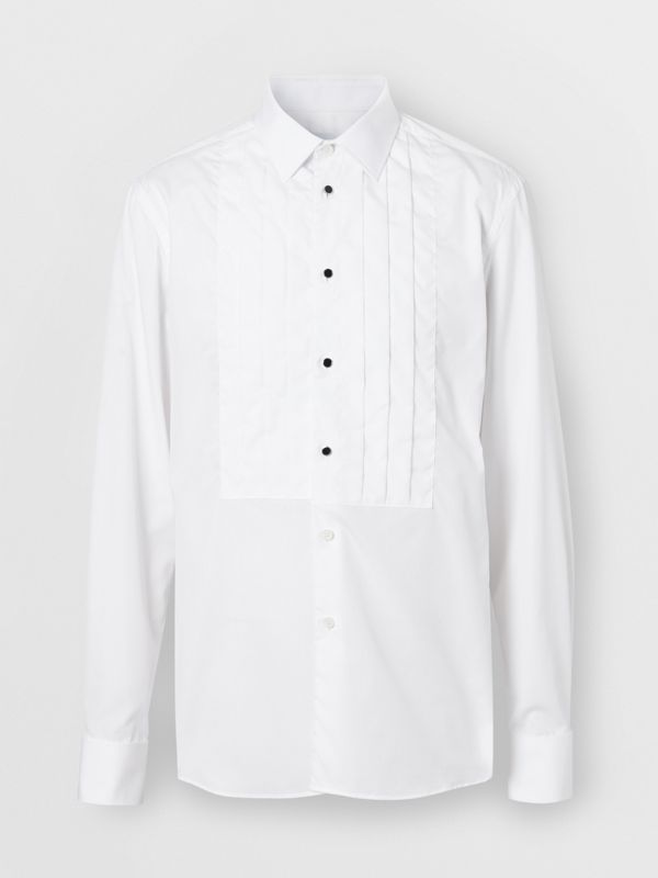 Pleated Bib Cotton Poplin Dress Shirt in Optic White - Men | Burberry - cell image 3