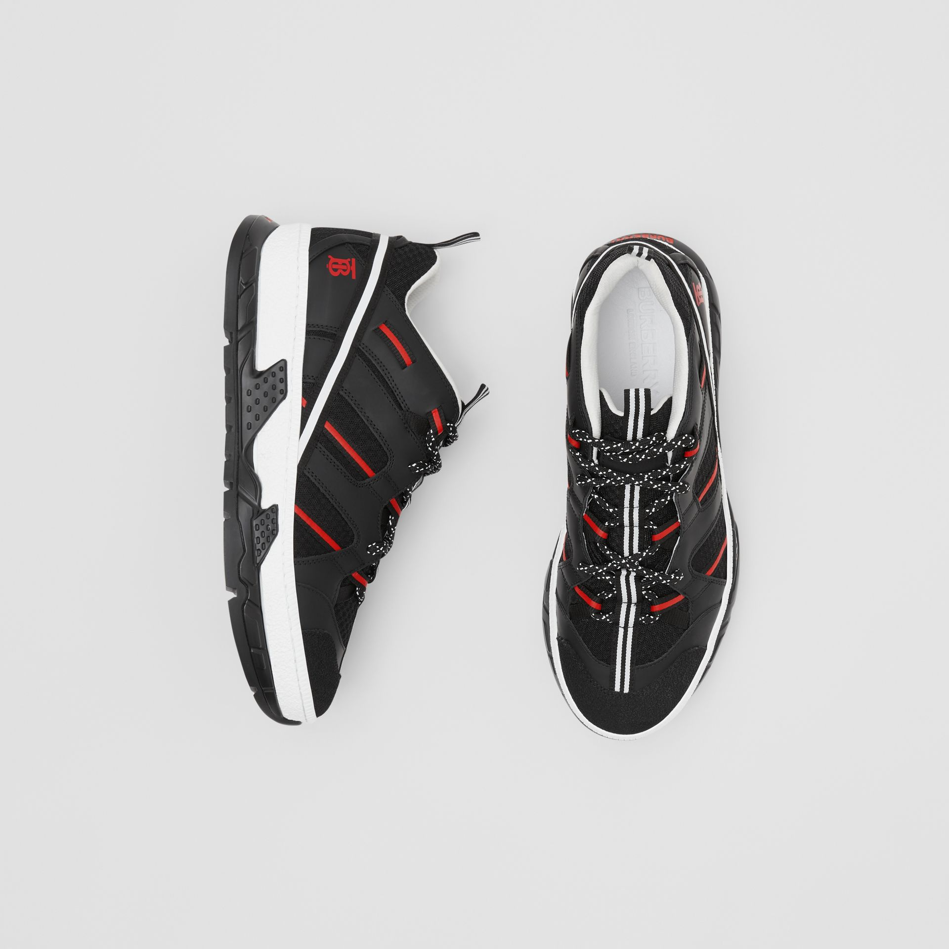 Mesh and Nubuck Union Sneakers in Black/red - Men | Burberry Hong Kong S.A.R - gallery image 0