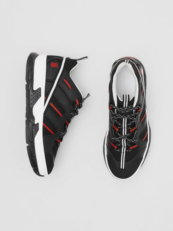 Sneakers Union en filet et nubuck (Noir/rouge)