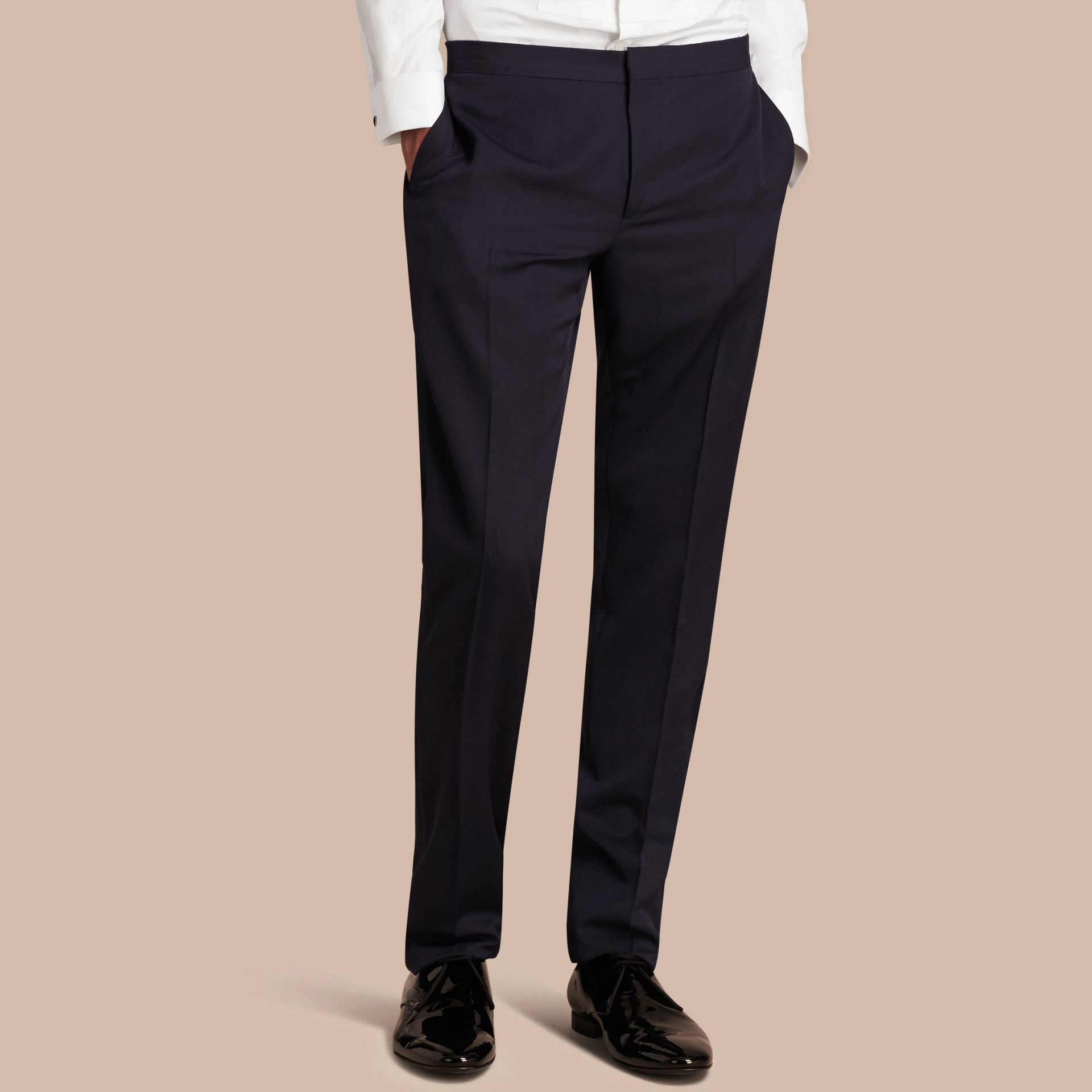 Virgin Wool Tuxedo Trousers Navy - gallery image 6