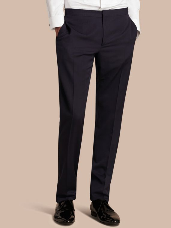 Pantaloni smoking sartoriali in lana vergine Navy