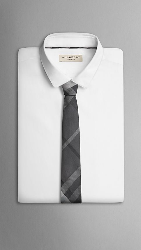 Dark charcoal Modern Cut Beat Check Silk Tie - Image 3