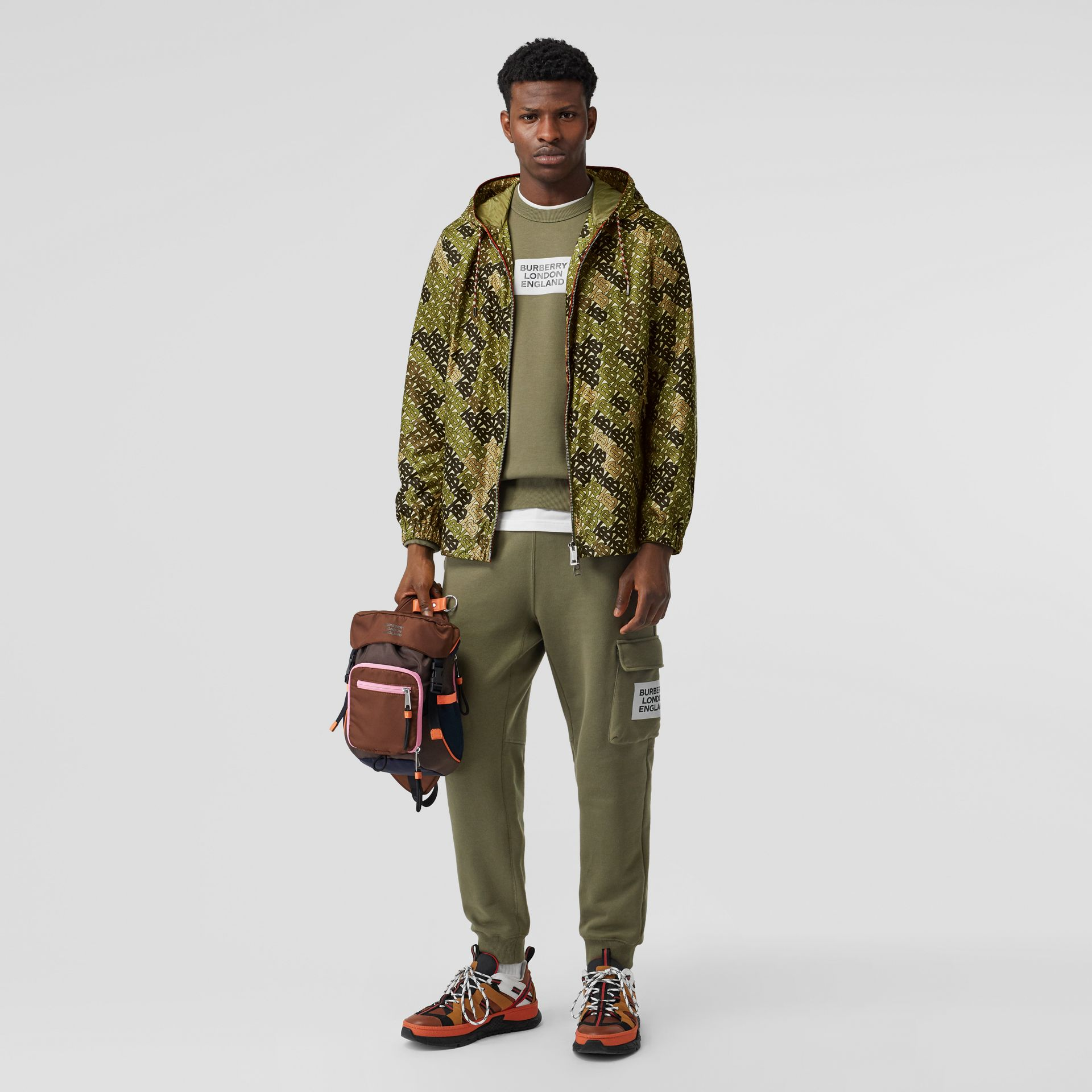 Monogram Print Nylon Hooded Jacket in Khaki Green - Men | Burberry - gallery image 0