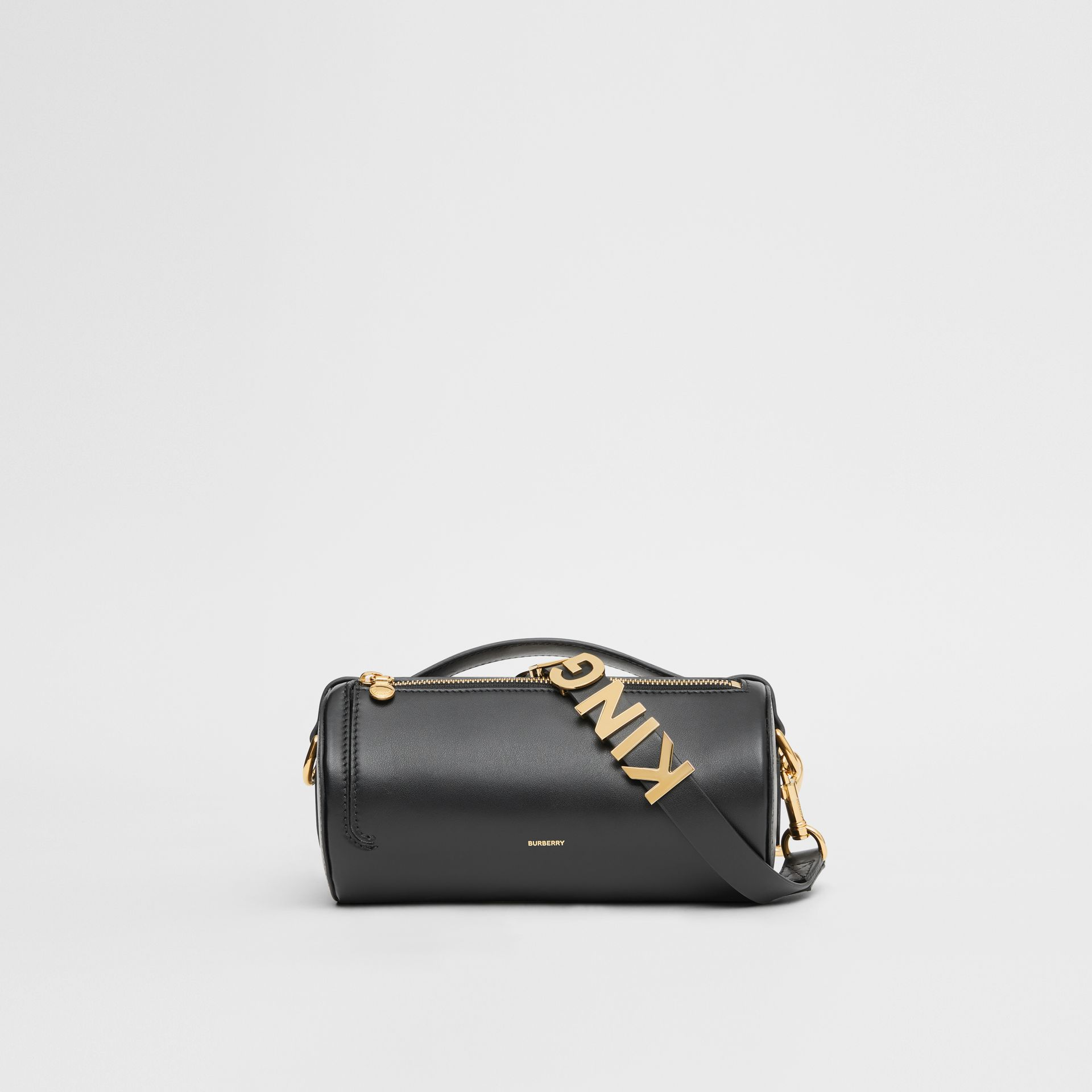 The Kingdom Motif Leather Barrel Bag in Black - Women | Burberry Australia - gallery image 0