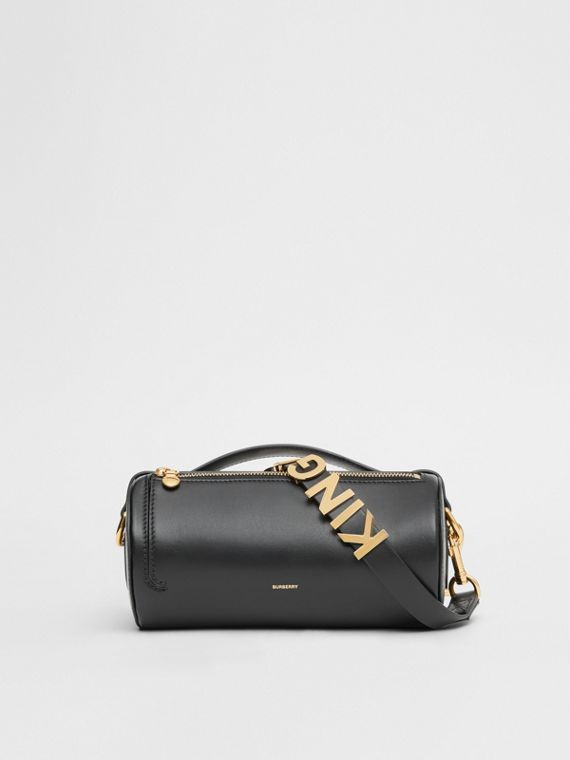 The Kingdom Motif Leather Barrel Bag in Black