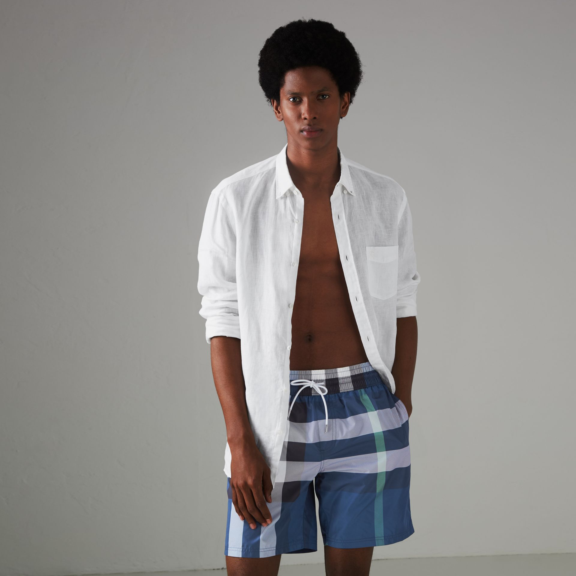 Check Drawcord Swim Shorts in Canvas Blue - Men | Burberry United States - gallery image 0