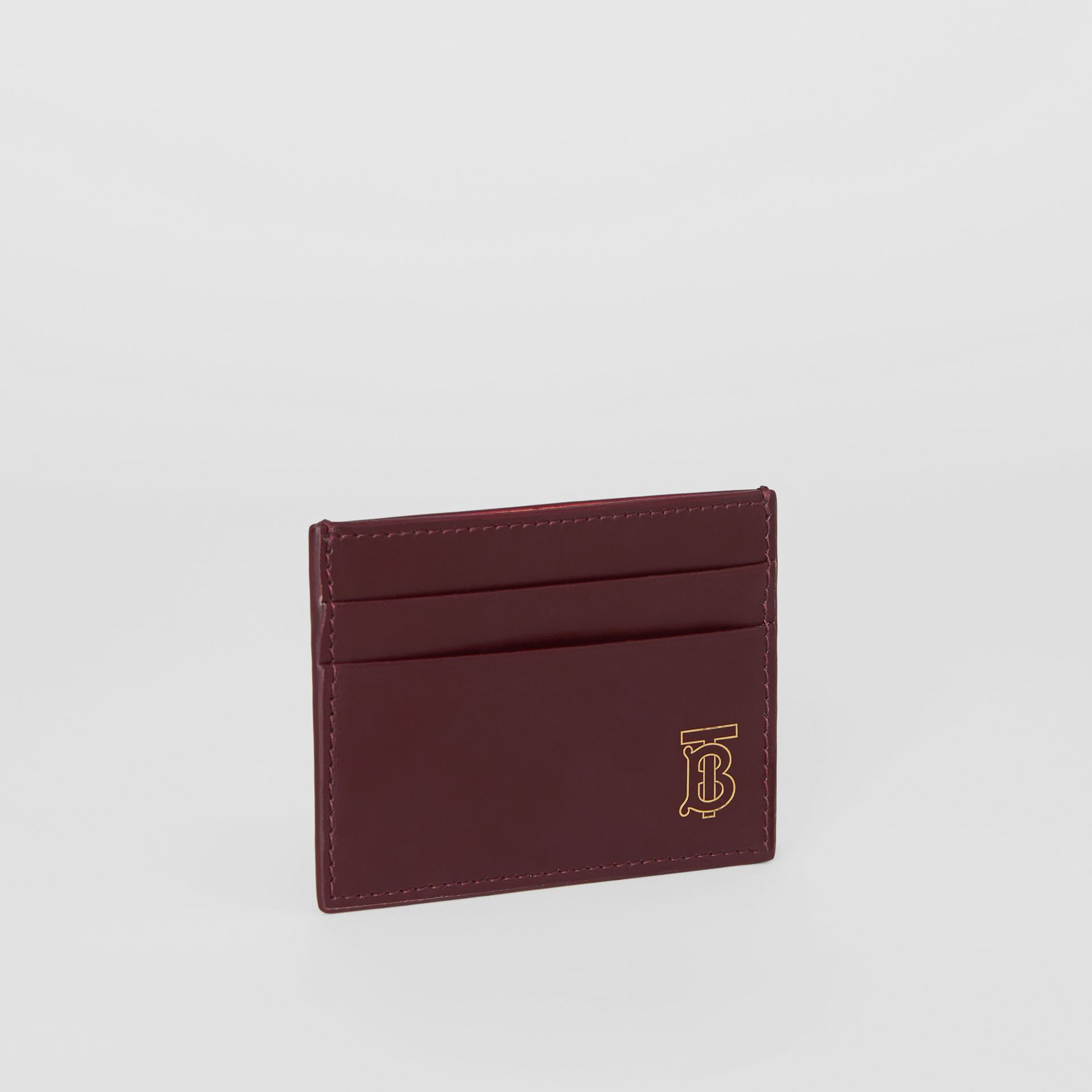 Monogram Motif Leather Card Case in Oxblood - Men | Burberry United States - gallery image 3