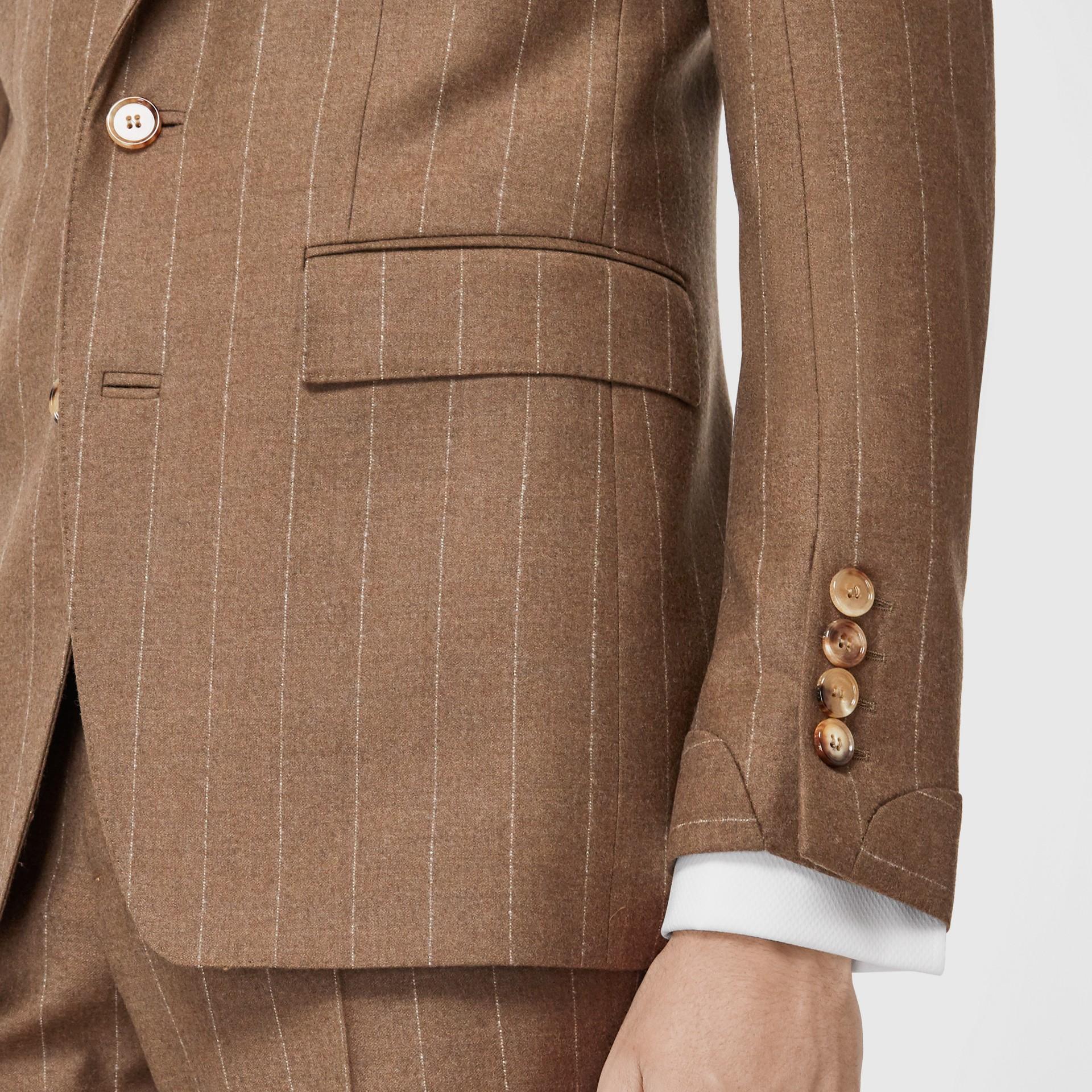 Classic Fit Velvet Trim Wool Cashmere Tailored Jacket in Dark Tan - Men | Burberry - gallery image 3