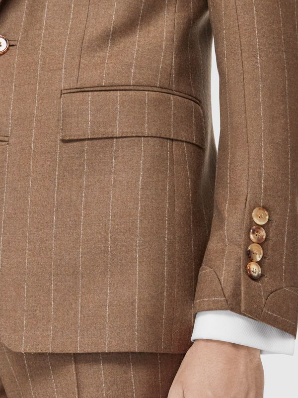 Classic Fit Velvet Trim Wool Cashmere Tailored Jacket in Dark Tan - Men | Burberry - cell image 3