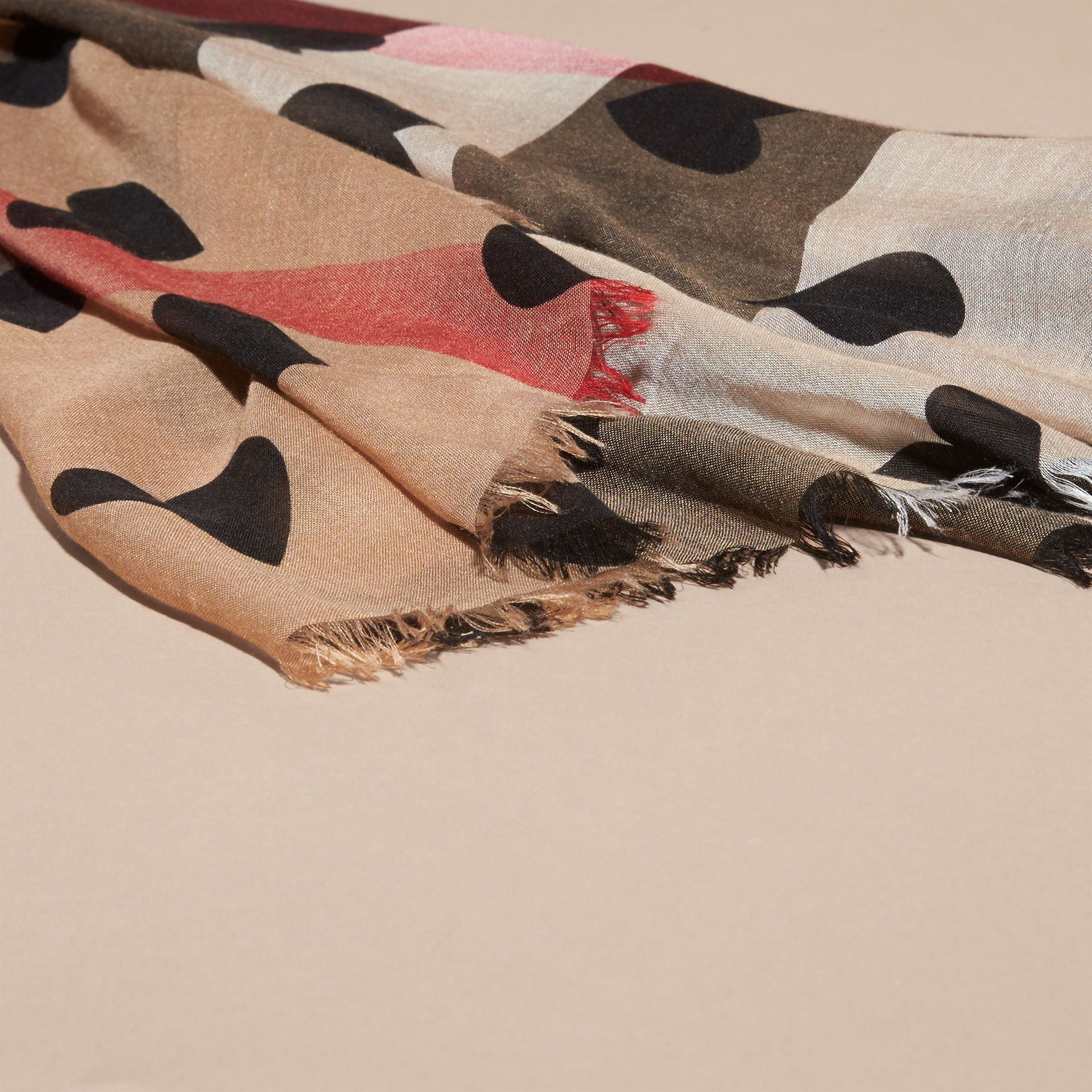 Heart and Check Modal and Cashmere Scarf in Camel/black - gallery image 2