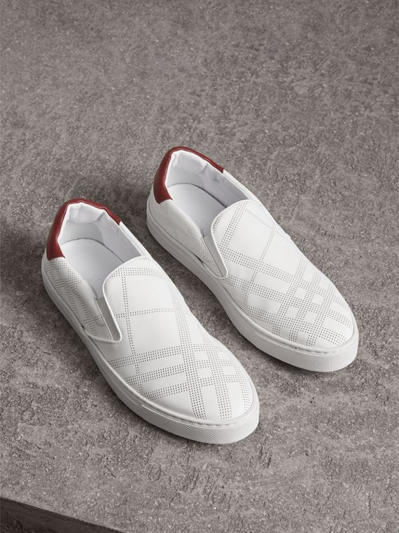 Perforated Check Leather Slip-on Trainers in Optic White/deep Claret Melange