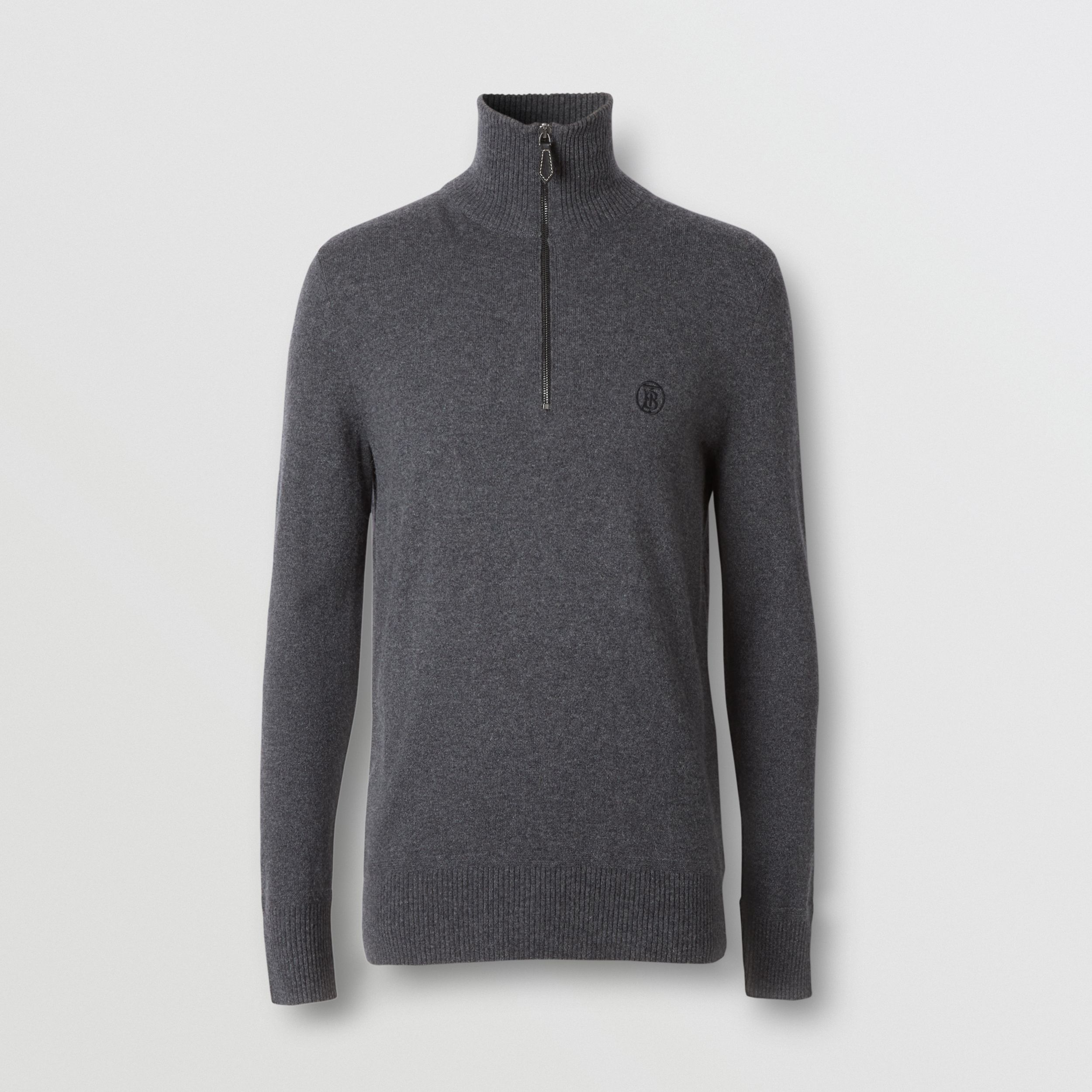 Monogram Motif Cashmere Funnel Neck Sweater in Steel Grey - Men | Burberry - 4