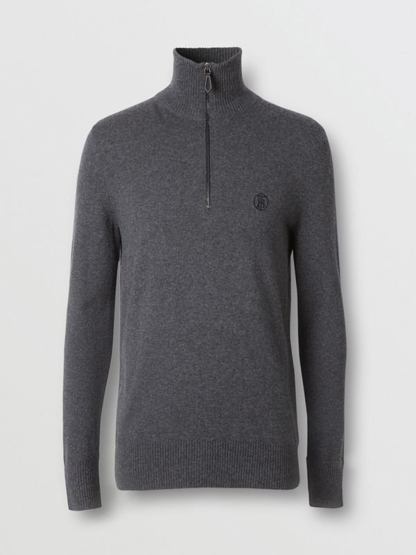 Monogram Motif Cashmere Funnel Neck Sweater in Steel Grey - Men | Burberry - cell image 3